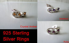 925 Sterling silver Ring Size 7, 8( Amethyst,Crystal Amber,Ruby) FREE POST