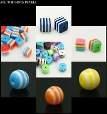 *CLEARANCE* 100 Resin Cube,Column,Cylinder Striped Beads. 7 Colours *CLEARANCE*