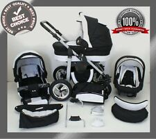 SILVER BABY TRAVEL SYSTEM 3in1 PRAM PUSHCHAIR CAR SEAT NEW 11 COLOURS