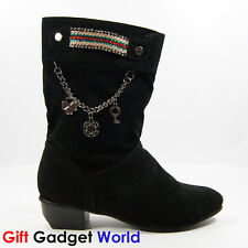 Ladies Ankle Boots Sexy Winter Warmer Womens Flat Boots 2 3 4 5 6 Black 8802