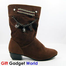 Ladies Ankle Boots Sexy Winter Warmer Womens Flat Boots 2 3 4 5 6 Brown 8802