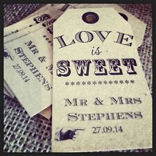 20 Vintage Shabby Chic 'Love is Sweet' tags for weddings/birthdays/christenings