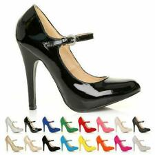 NEW LADIES MARY JANE STRAP HEEL COURT SHOES OFFICE MANY COLOURS SIDE BUCKLE