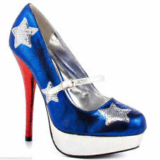d33836eff2 RUPAULS DRAG RACE BY IRON FIST PATRIOTIC RED BLUE SILVER PUMP PLATFORM SHOES
