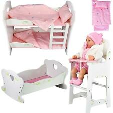 NEW Dolls Wooden Set High Chair Rocking Crib Cot Bed Pram Pushchair Girls Toy