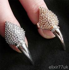 NEW SILVER GOLD DIAMANTE NAIL ART FINGER TIP RING CLAW TALON FASHION GOTHIC PUNK