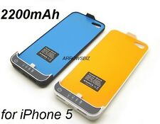 New 2200mah iPhone 5 External Backup battery charger case cover power station