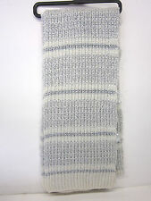 LADIES ACRYLIC KNITTED  DESIGN SCARVES WHITE / GREY / SILVER