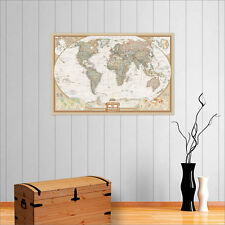 HUGE VINTAGE WORLD MAP WALL ART POSTER