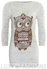 Ladies/Womens Owl Print Jumper Sweater Knit Animal Print Pullover - Oatmeal Top