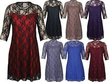 New Womens Contrast Colour Lace Floral 3/4 Sleeve Evening Party Dress 14-28