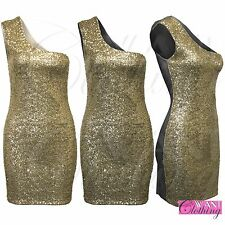 WOMENS LADIES GOLD SEQUIN BODYCON DRESS ONE SHOULDER PARTY SEXY DRESSES TOPS