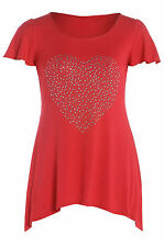 Womens Plus Size Red Diamante Stud Embellished Tunic Style T-Shirt Top