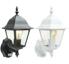 Outdoor 4 Sided Wall Lantern Black Or White With PIR Motion Sensor Detector