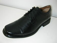Mens Clarks Hold Cap Black Leather Smart Oxford Lace Up Shoes