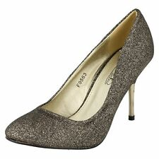 Ladies Spot On Black/Gold Glitter Sparkly Stiletto Court Shoes F9563 PARTY WEAR
