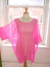 Baylis& Knight Pink Chiffon SHEER Oversized RELAXED Top  Beach Cover Up 80s