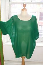 Baylis & Knight Green Chiffon SHEER Oversized RELAXED Top 90s Beach Cover Up T