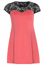 Womens Plus Size Coral Lace Design Flared Short Dress With Sequin Detail