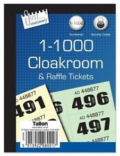 1000 raffle cloakroom tickets security coded bingo numbered office game use book