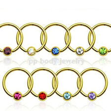 "PAIR 16g~3/8"" 14K Gold Plated 316L Surgical Steel Captive Bead Ring with CZ Gem"