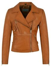 BRANDO Leather Jacket Ladies Tan Suede BIKER STYLE SOFT REAL LEATHER 2588