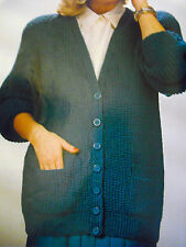KNITTING PATTERNS PLUS SIZES LADY'S MENS SWEATER CARDI C DESC FOR FINISHED SIZE