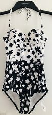 Topshop One Piece Black White Floral Flowers Print Swimsuit BNWT UK 6 US 2 Retro