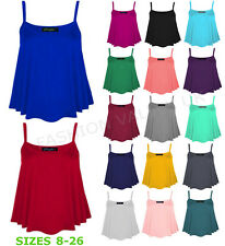 NEW WOMENS PLAIN SLEEVELESS STRAPPY SWING VEST CAMI LADIES CASUAL TANK TOP 8-26