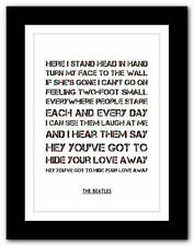THE BEATLES - You've Got To Hide Your Love Away ❤ typography poster art print