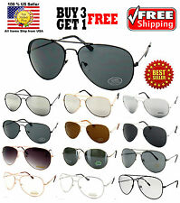 SILVER BLACK GOLD AVIATOR STYLE METAL FRAME MIRROR / DARK LENS SUNGLASSES SHADES