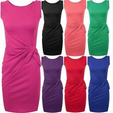 New Womens Plus Size Ponte Side Bow Detail Sleeveless Dress 8-22