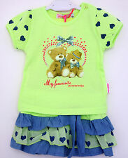 COMPLETO BAMBINA BIMBA ESTATE T.SHIRT + GONNELLINA gonna TG.12/36 MESI
