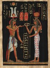 "Egyptian Papyrus Painting - Ramsis II offers to Isis 7X9"" + Hand Painted #90"