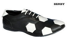 Derby Brand New Mens Black,White FOOTBALL Design Loafer Casual Shoes