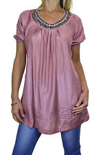 NEW (4038-4) Womens Short Sleeve Tunic with Silver Bead Stud Detail Rose 8-16