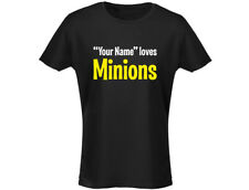 """""""Your Name"""" Loves Minions Personalised Womens T-Shirt (12 Colours)"""