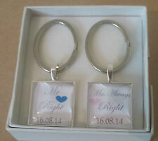 Personalised Wedding Day Gift  MR Right & MRS Always Right Key Rings Keyring set
