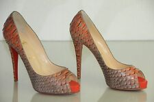 New CHRISTIAN LOUBOUTIN Very Prive 120 PYTHON Mandarin Red Pumps SHOES 38 40.5