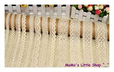 Pretty Vintage Style Cream/Ivory 100% Cotton Crochet Scalloped Floral Lace Trim