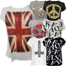 New Womens Plus Size Printed Casual Stretch Short Sleeve T-Shirts Tops 16-26