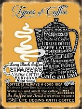 COFFEE YELLOW VINTAGE SMALL,MED,LARGE, KITCHEN STEEL WALL PLAQUE METAL TIN SIGN