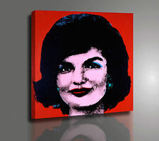 ANDY WARHOL JACKIE IN RED QUADRO POP ART STAMPA SU TELA CANVAS VERNICE PENNELLO