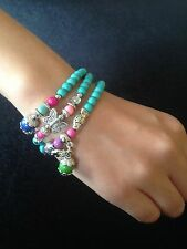 Necklace Bracelet Cuff Pair Charm Hippie Boho Tribal Beaded 4 Colours N1053