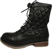 Girls Womens Black Military Combat Quilted  Zip/lace Up Boots Shoes 12-5uk