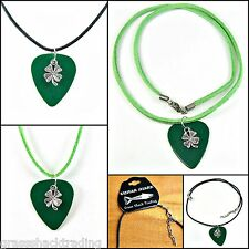 Guitar Pick Necklaces with Irish 4 Leaf Clover Lucky Charm Pendant