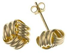 9CT GOLD  YELLOW ROSE 3 COLOUR 6MM WOOLMARK KNOT BALL STUD EARRINGS GIFT BOX
