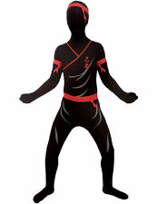 Official Child Ninja Morphsuit Fancy Dress Costume Kids Outfit