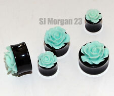 Green Rose Ear Ring Stretcher Plug in various sizes 8 10 12 14 16 18 20 22 mm
