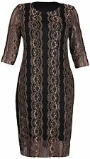 New Womens Plus Size ¾ Sleeve Gold Coral Lace Lined Midi Dress 16-26